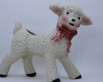 Vintage Ceramic Lamb Planter With Red Bow 1960's