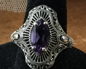Stunning Ornate Amethyst Filigree Sterling Silver Ring Size 8 High Setting Signed 925 CNA January Birthstone Marquise Faceted Purple