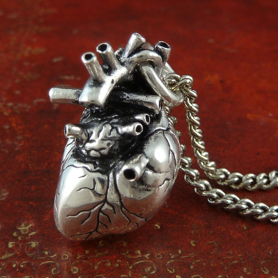 Gothic Heart Necklace Antique Silver Anatomical Heart Pendant