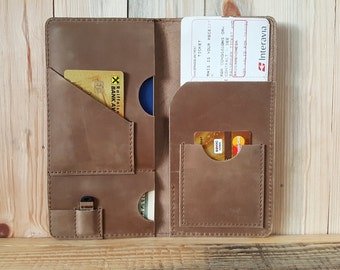 Personalized Travel Document Wallet, Leather Passport wallet, Document organizer, Travel Passport Holder, Boarding pass holder, gift for him
