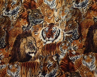 One Yard Quilt Cotton Fabric by Shamash and Sons Inc.  Featuring Tigers Motif