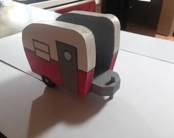Pink vintage camper napkin holder