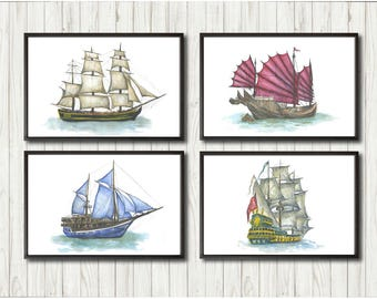 Watercolor nautical set of 4 sailboat paintings on canvas for children Sailor poster Sea artwork Gift for sailing ship lover Marine décor