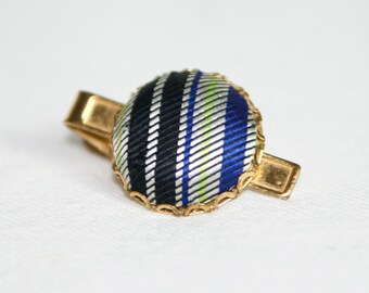 Vintage tie clip...striped cloth tie clip...gold tone.