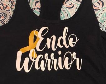 Endo Warrior Racerback Tank - Fight Endometriosis - Yellow Ribbon