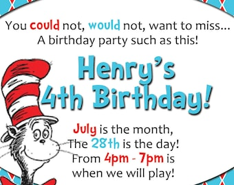Aqua & Red Argyle Dr. Seuss PRINTABLE Party Kit