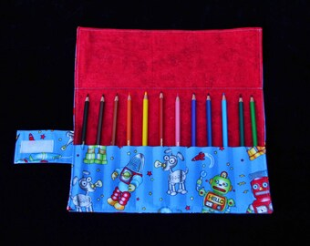 Robot 'Ramsay' Pencil Roll, handmade pencil roll, fabric pencil roll
