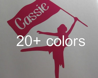 Personalized COLOR GUARD Vinyl Decal / Sticker *Available in 24 colors* | name | custom |