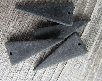 Sea Glass Triangle 37mmx15mm Black Earrings Pendant (2)