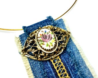 Repurposed Denim Necklace, Statement Pendant, Jeans Necklace, Upcycled Jewelry