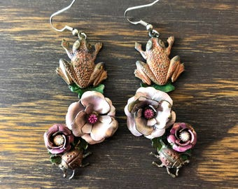 Vtg 30s Bronze Floral Frog and Ladybug Earrings with Beautiful Patina Boho Bohemian Rustic
