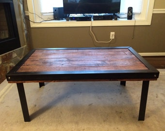 Handmade Reclaimed Wood and Iron Coffee Table