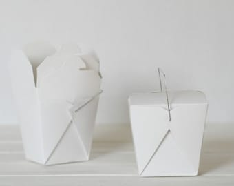 100 White Recycled 16 ounce Chinese Take Out Box | Wedding Favor Box | Candy Box | Take Out Box | Eco Friendly | Microwavable