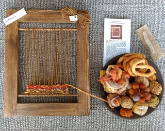 Weaving Loom Kit (L), Learn to Weave, Tapestry Weaving, Woven Wallhanging, Frame Loom, Handspun Yarn, Beginners Weaving Kit, Autumn Colours,