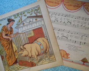 1877 There Was a Lady Who Loved a Swine Litho Print Walter Crane