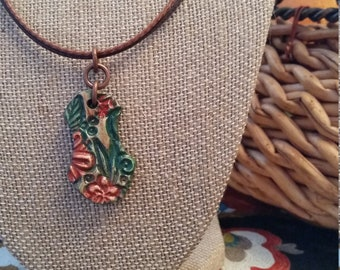 Clay Pendant, Earth Tone Colors, Bible Verse reference Isaiah 41:10 on the back