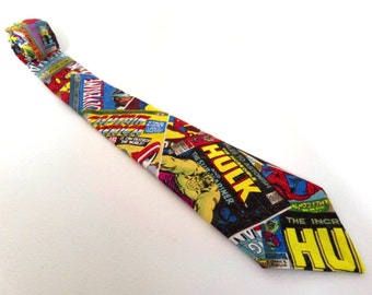 Marvel Comics Necktie Spiderman Hulk Iron Man Wolverine Captain America XMen DC Comic Book Superhero SciFi Fantasy Movie Child Tie Avengers