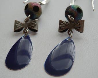 Purple enamel drop earrings