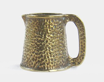 Vintage Arts & Crafts Solid Brass Jug - mid century old antique hammered look rustic pitcher toby tankard decor terrarium watering can gold