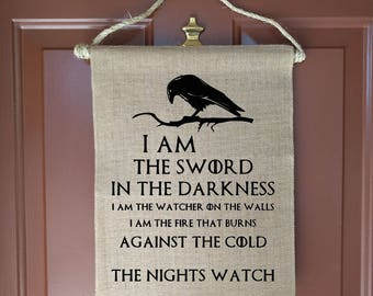 Game of Thrones, Game of Thrones Quotes, Nights Watch, Welcome Sign, Wall Decor, Raven Art, Crow Art, Game of Thrones Flag, Movie Wall Art