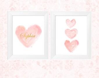 Blush Pink Nursery, Blush and Gold Wall Decor, Set of 2 -11x14 Watercolor Prints, Personalized Art, Blush Baby Decor, Blush and Gold Nursery