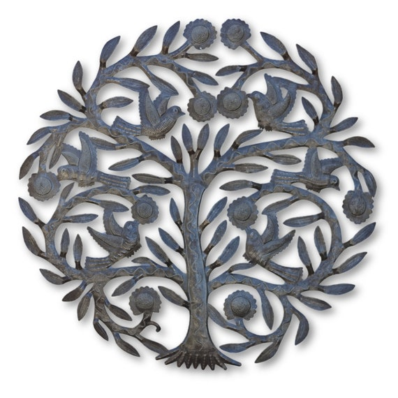 Tree of Life w/ Birds,  Quality Handcrafted Haitian Metal Art, One-of-a-Kind 23 x 23