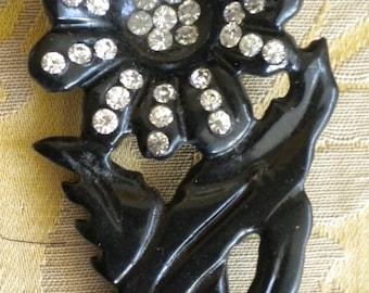 Lovely Vintage Black Floral Celluloid Pin