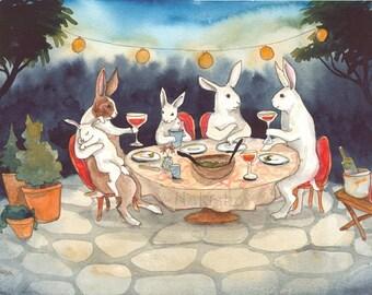 The Garden Party - Fine Art Rabbit Print