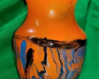 Orange Blue Vase Bathroom Vase/Orange Glass Vase Modern/Teal Orange Vase/HandPainted Orange Vase/Blue Orange Vase/ Modern Blue Orange Vase