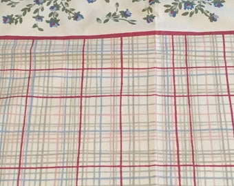 Vintage Pillowcase...Blue Flowers & Plaid Red, Pink, Green Taupe