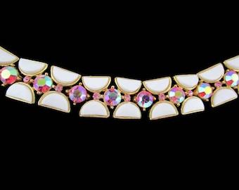 Crown Trifari Bracelet/ Pink Ab Rhinestone Bracelet/ White Semi Circle Lucite  / Half Moon Thermoset Panels/ Mid Century Gold Tone Bracelet