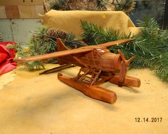 Beaver Bush Plane on Floats Hand Carved Cottonwood Bark Art Carving Airplanes Alaska Bush Planes Captains Pilots