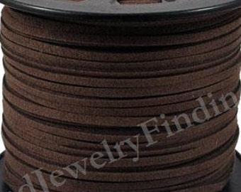 Dark Brown Suede Cord - Microfiber Suede Cord - 15 feet- 5 yds-  3mm x 1.5mm- Beading Cord - Jewelry making Stringing Material  -w0025