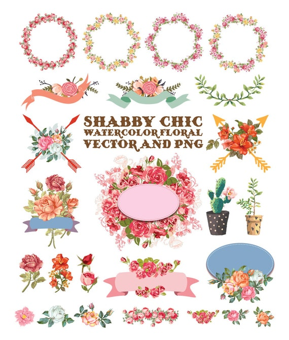 Watercolor Flower Clipart Shabby Chic Clipart Flower