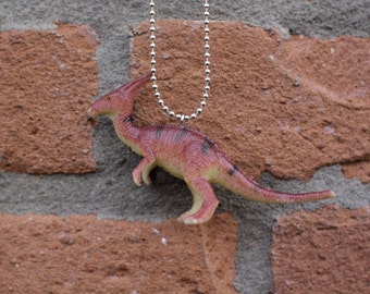 Palmer the Brown Disco Dinosaur with Groovy Hair Comb on Silver Ball Chain Necklace