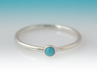 Dainty Turquoise Ring, Sterling Silver Turquoise ring - 3mm stone, Turquoise Ring Silver, Turquoise Ring Sterling Silver, Stacking Ring