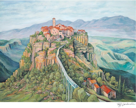 Civita Di Bagnoregio Italy Landscape Hill Town painting by