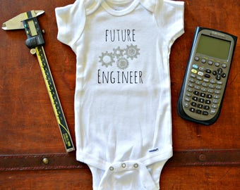 Future Engineer Baby Onesie-Geeky Baby-Nerdy Baby-STEM for girls-Science Onesie-Baby Reveal Onesie-Pregnancy Reveal for Engineers-