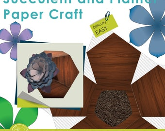 Print and Make Paper Craft - Succulent plant decoration with modern holder