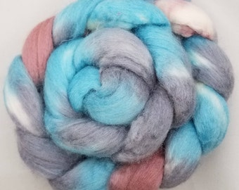 Merino / Tussah Silk 'Song of the Winter Queen' Hand Painted Roving
