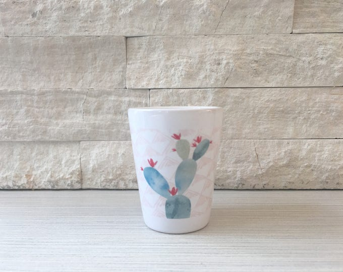 Watercolor Prickly Pear Cactus Shot Glass