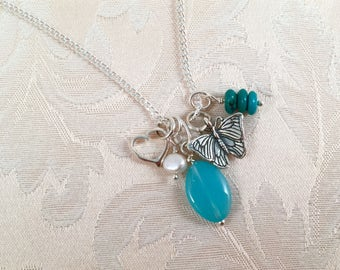 Sterling Silver Butterfly, Pearl, Chalcedony Heart Cluster Charm Necklace