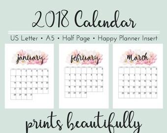 2018 Desk Calendar Printable, 4 Sizes: US Letter, A5, Happy Planner, Half Page, Watercolor Floral Calendar, 2018 Monthly Wall Calendar, PDF