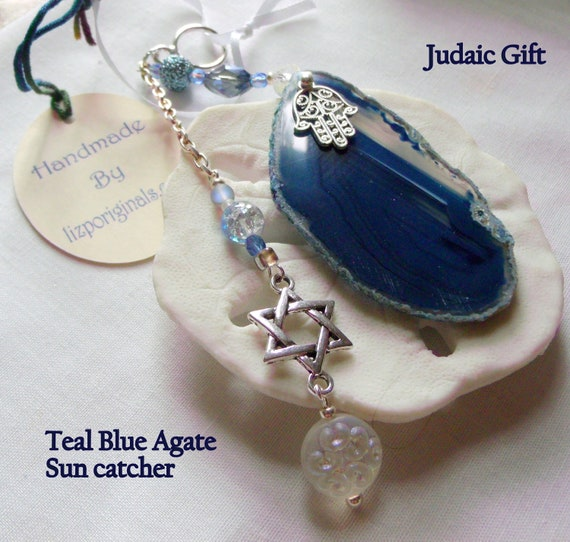 Jewish wedding gift - wine bottle decor - Personalize - Judaic star of David charm - Gift  ornament - Hamsa hand symbol - window sun catcher