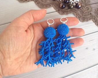Blue Tassel Earrings Beaded balls earrings Bohemian Fringe Boho Gipsy Tassel Earrings - Chandelier Statement Drop Summer Earrings