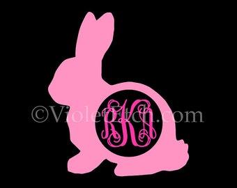 Bunny Decal-Rabbit Decal-Vine Monogram Decal-Easter Decal-Bunny Monogram Decal-Yeti Decal