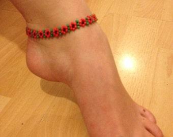 Ankle bracelet anklet beaded Poppy