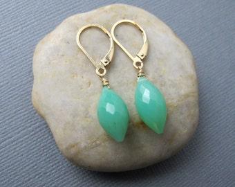 Chrysoprase Earrings, Double Point Gemstone Dangles, 14k Gold Filled Ear Wires