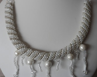 Pearl, Crystal and Silver Seed Bead Statement Necklace