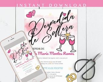 Despedida de soltera Invitacion, despedida invitation, whimsy, en español, bachelorette party, invite spanish, DIY, Invitacion para whatsapp